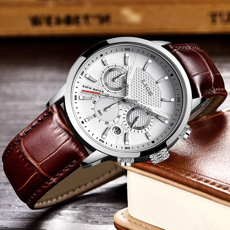 Solid Leather Watch for Men