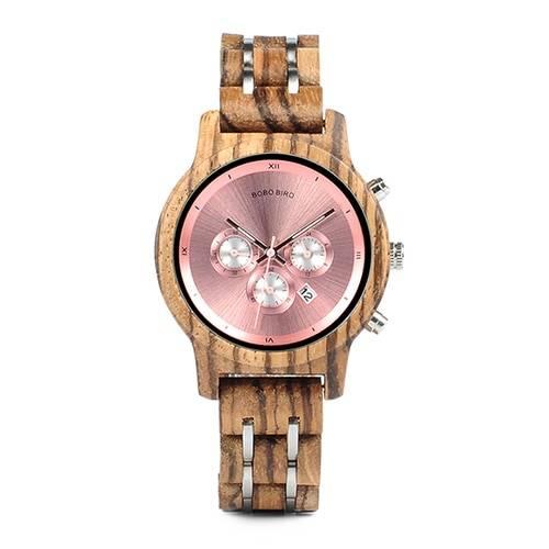Women's Luxury Round Wooden Quartz Watch